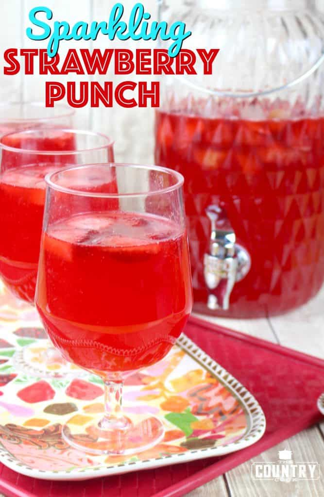 Sparkling Strawberry Punch recipe (non-alcoholic) from The Country Cook