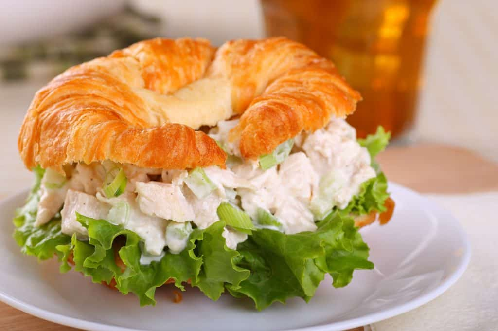 Roasted chicken salad on a croissant