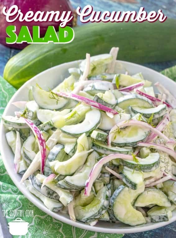 Creamy Cucumber Salad recipe from The Country Cook #salad #sidedish #cucumbers #dressing #fresh #summer #sidedish #TheCountryCook #recipes #recipe #ideas #lunch #freshcucumbers