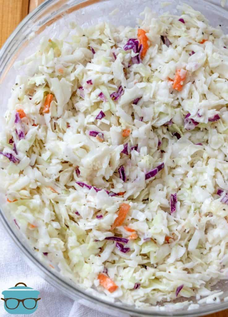 KFC Cole slaw in a large glass bowl