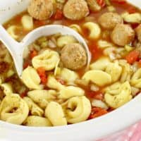 Slow Cooker Meatball and Tortellini Soup recipe from The Country Cook