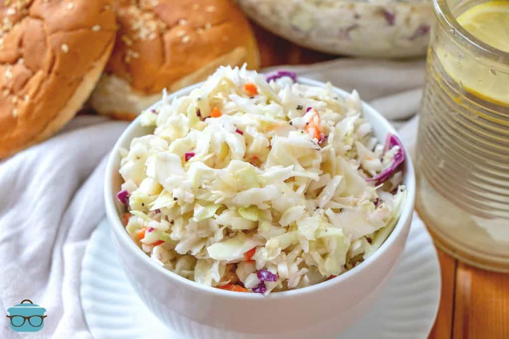 Southern creamy Cole slaw recipe in a white serving bowl