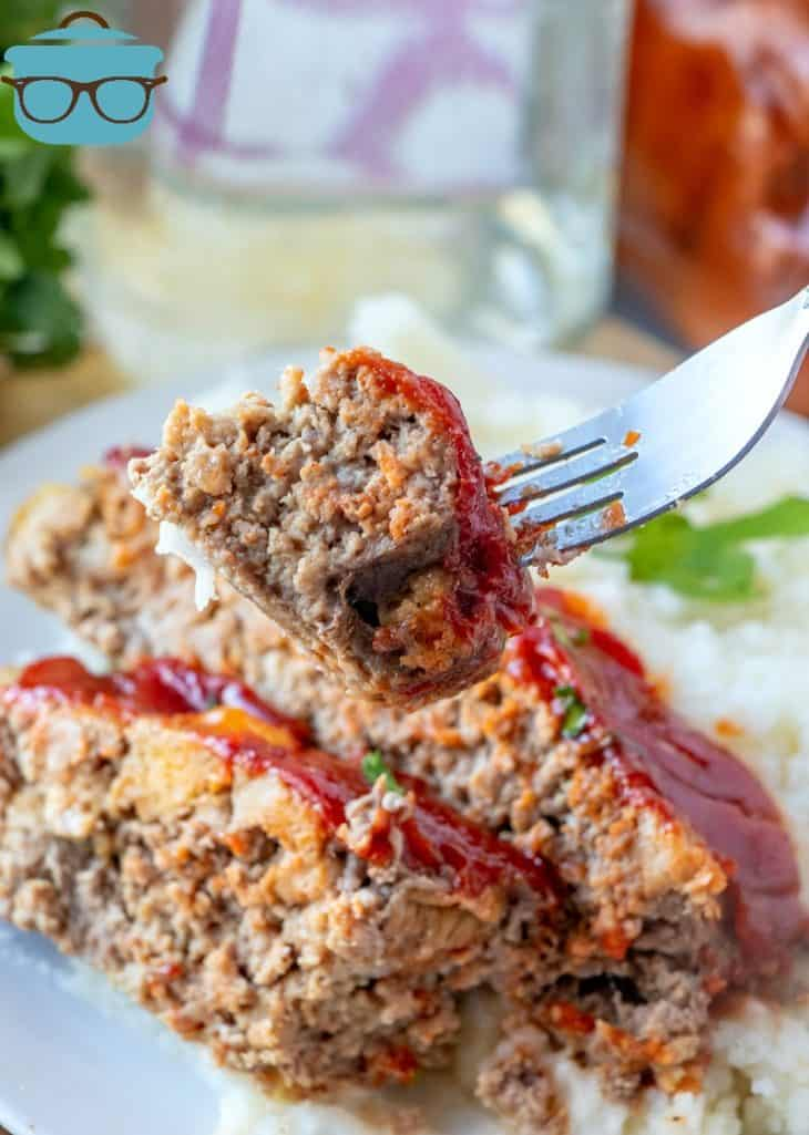 forkful, meatloaf topped with kitchen