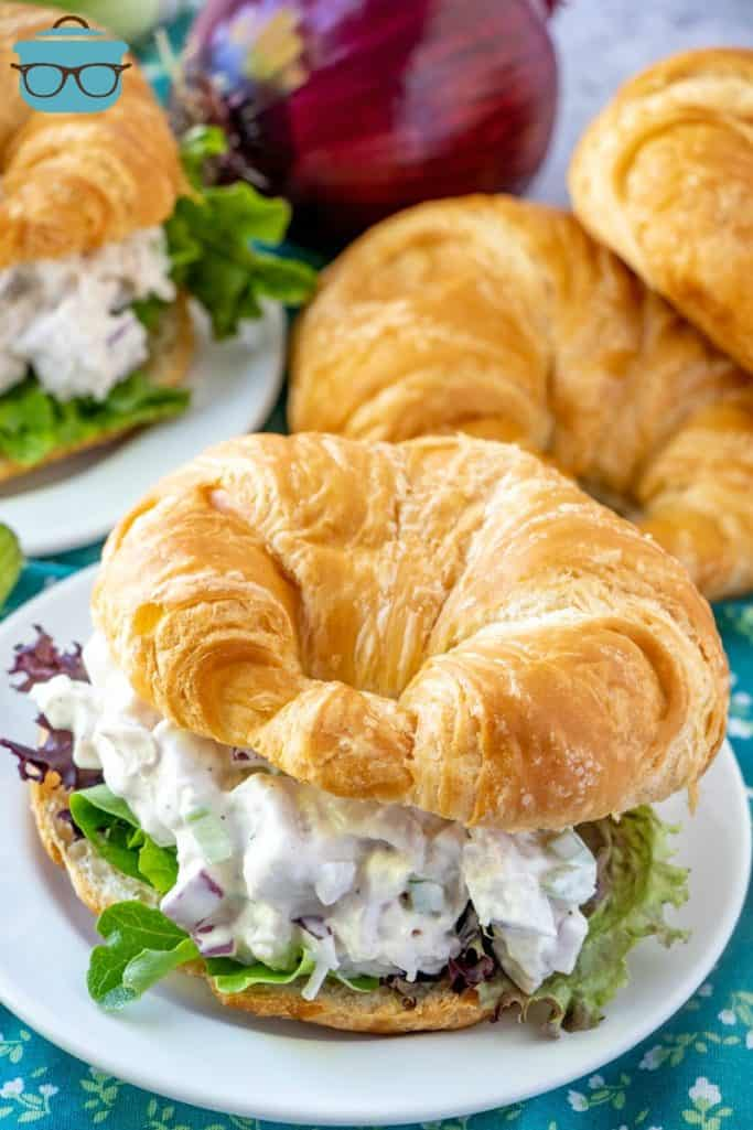 The Best Chicken Salad served on a fresh croissant
