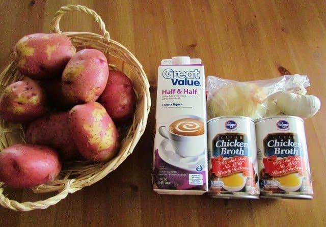 potatoes, half and half, chicken broth, garlic, onion, celery