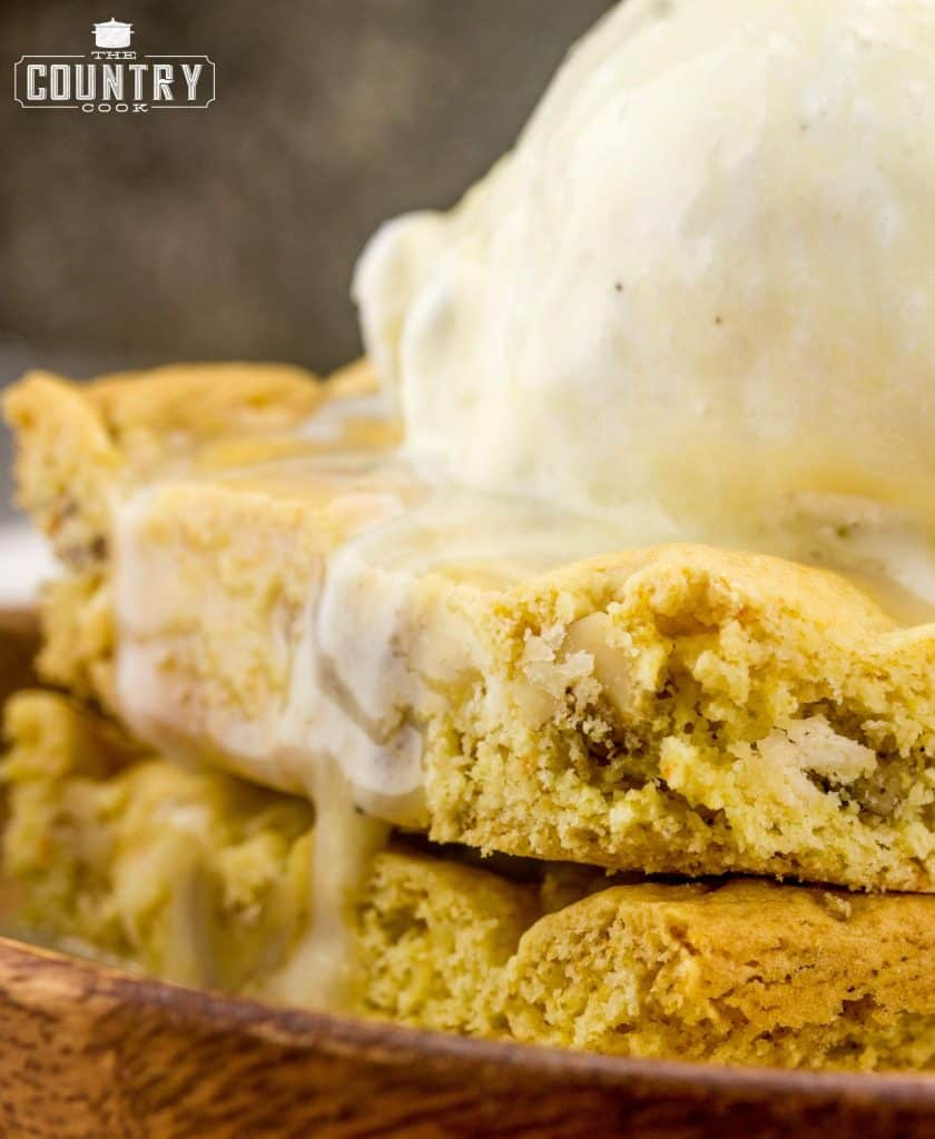 yellow cake mix blondies with white chocolate chips and maple butter sauce