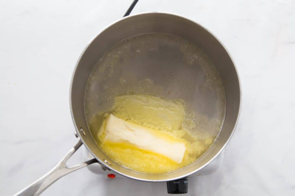 melted butter in a small saucepan with water