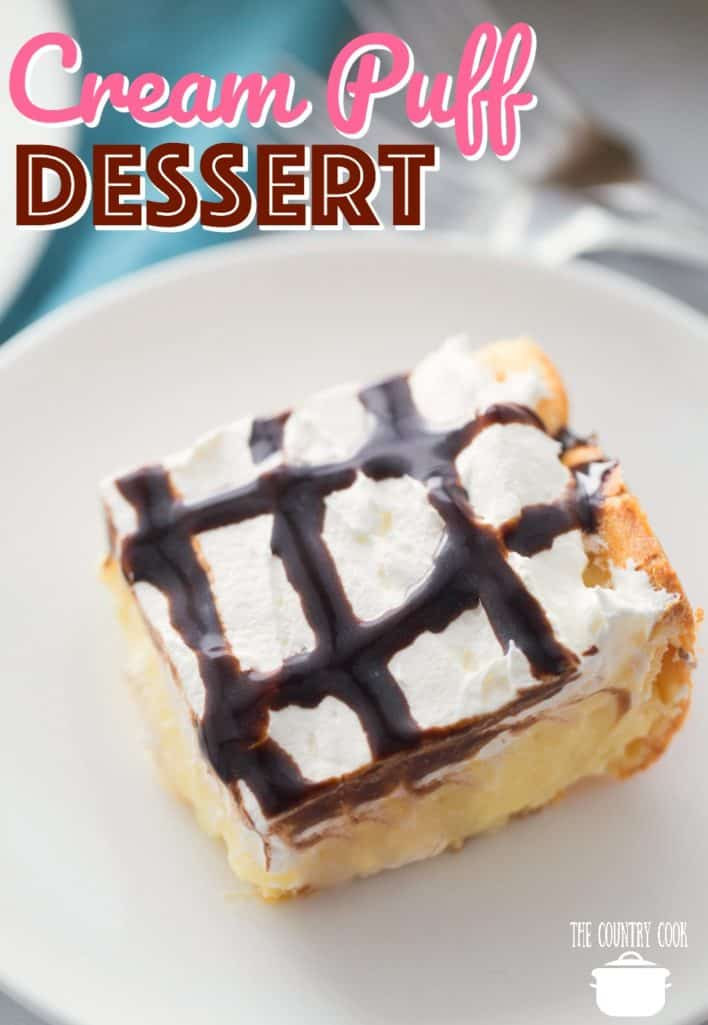 Easy Cream Puff Dessert recipe from The Country Cook