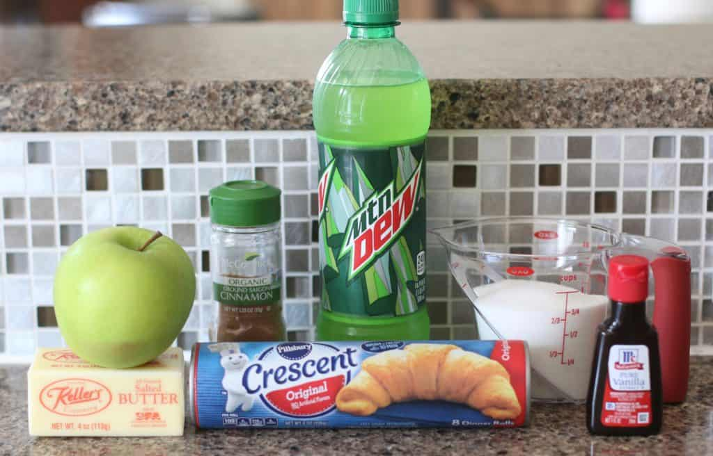 green apple, crescent rolls, salted butter, sugar, vanilla extract, cinnamon, flour, lemon lime soda (Sprite or Mountain Dew)
