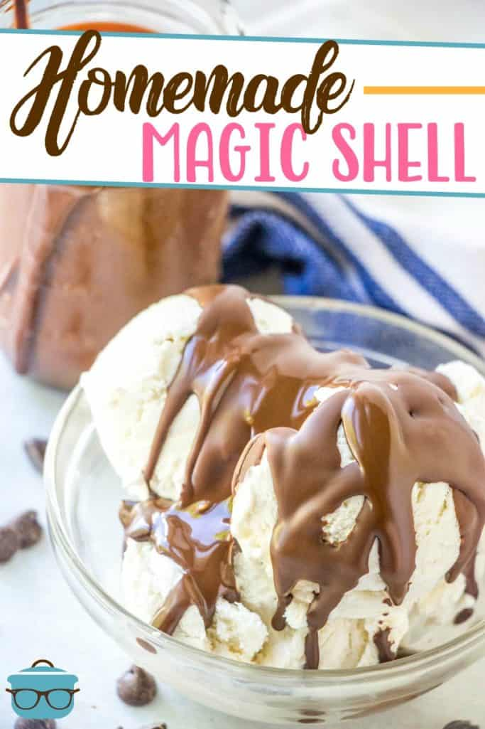 Homemade Magic Shell recipe from The Country Cook, magic shell poured over scoops of vanilla ice cream in a small clear glass serving bowl