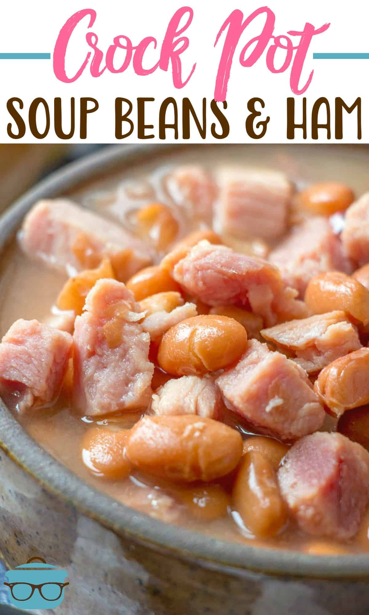 This easy Slow Cooker Soup Beans and Ham recipe is made with canned pinto beans, ham flavoring and chopped ham. Simple but delicious! #crockpot #beansandham