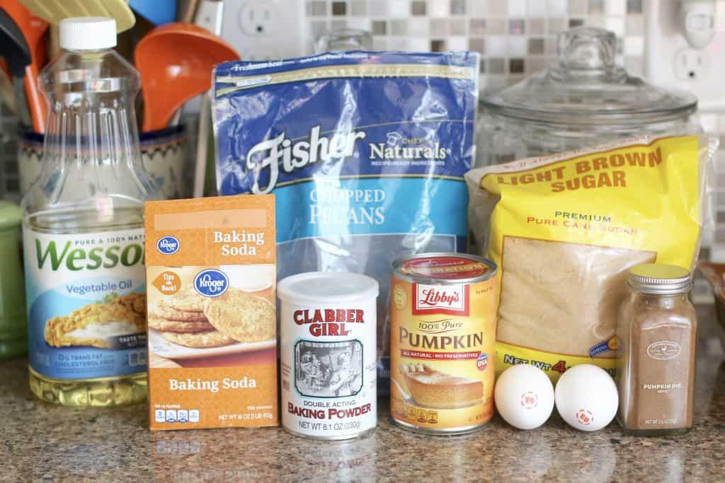 all-purpose flour, baking soda, baking powder, pumpkin pie spice, light brown sugar, pure pumpkin, eggs, vegetable oil