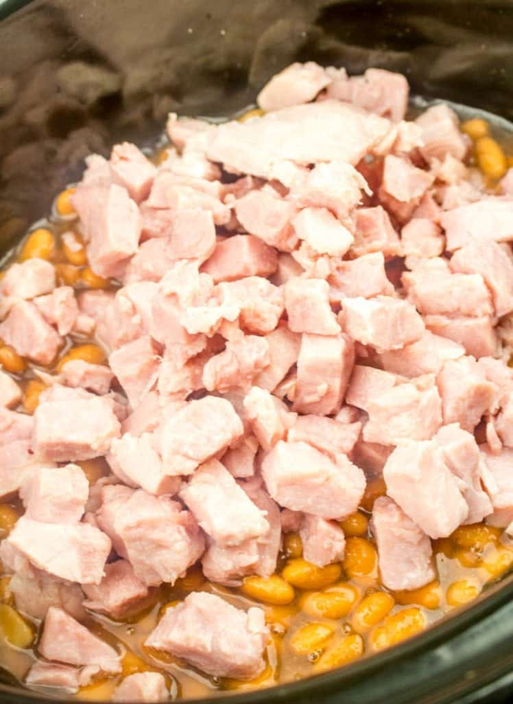 soup beans, pinto beans, chopped cooked ham and ham concentrate seasoning in a 6-quart oval slow cooker