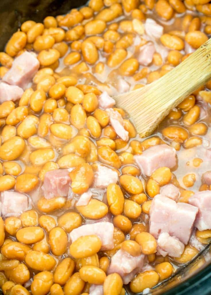 canned pinto beans and ham in a crock pot