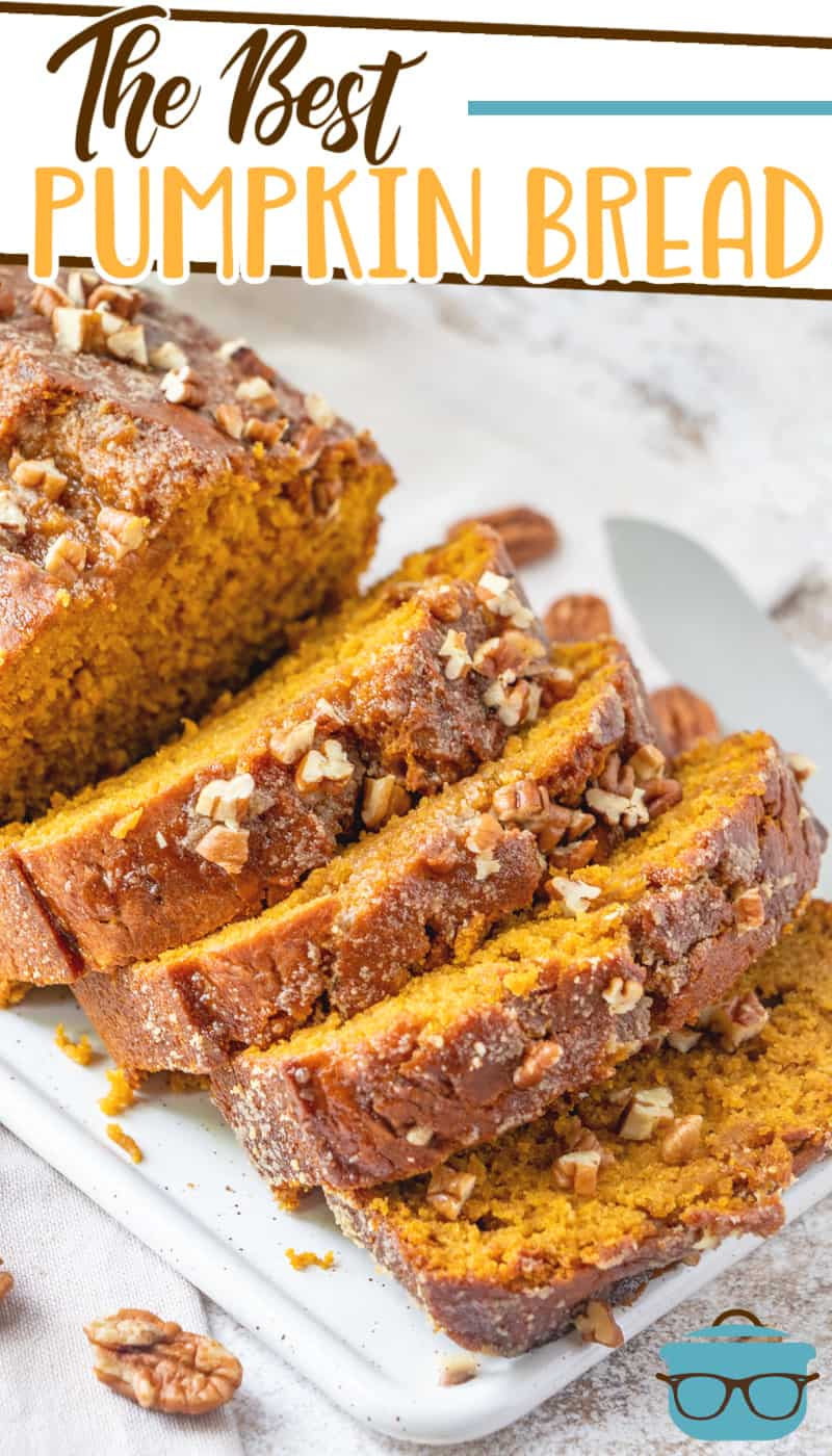 This pumpkin bread is like pumpkin pie in the form of bread! It is made so moist thanks to the pure pumpkin and brown sugar glaze.