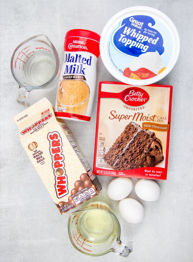 malted milk balls, chocolate cake, malted milk, whipped topping, eggs, oil, water.