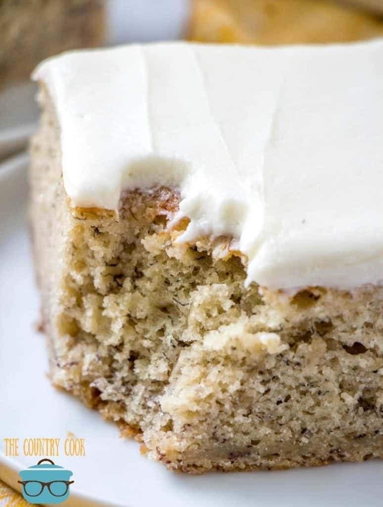 Fresh Banana Cake with Vanilla Frosting, slice