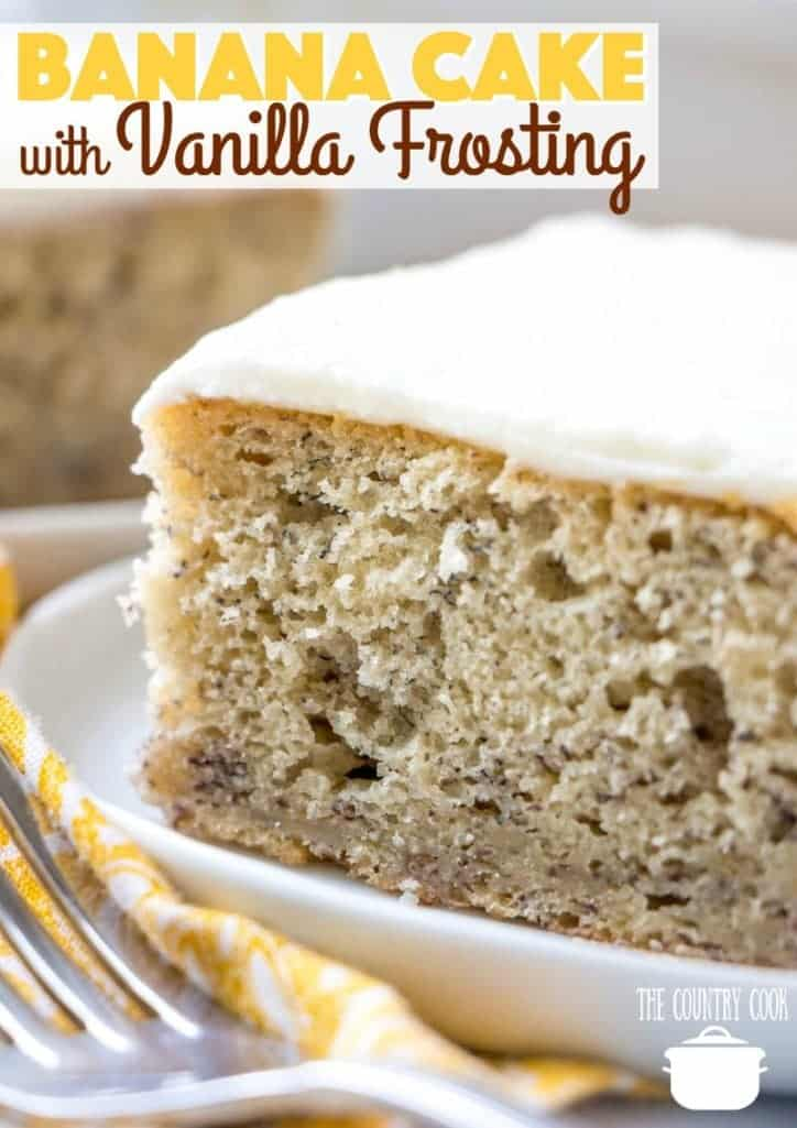 Homemade Banana Cake with Vanilla Frosting recipe from The Country Cook