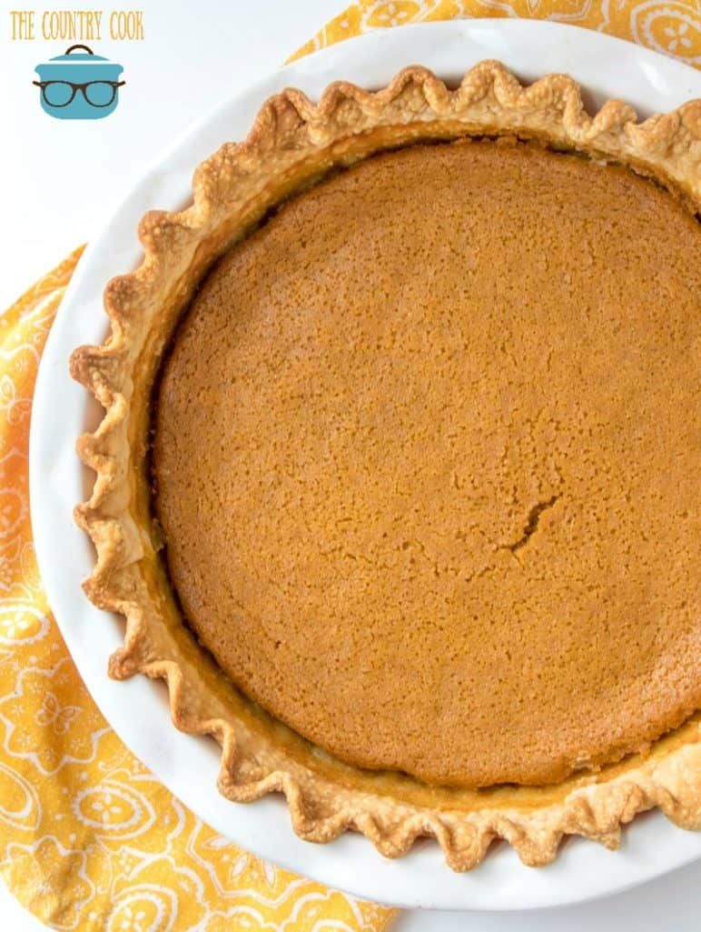 fully baked Thanksgiving pumpkin pie