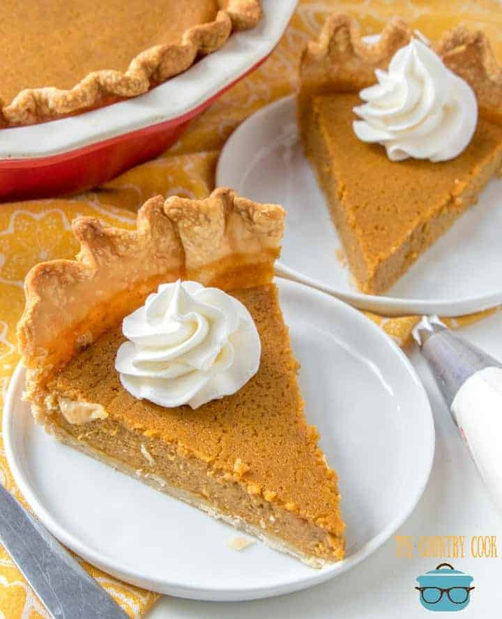 Thanksgiving Pumpkin Pie made with brown sugar