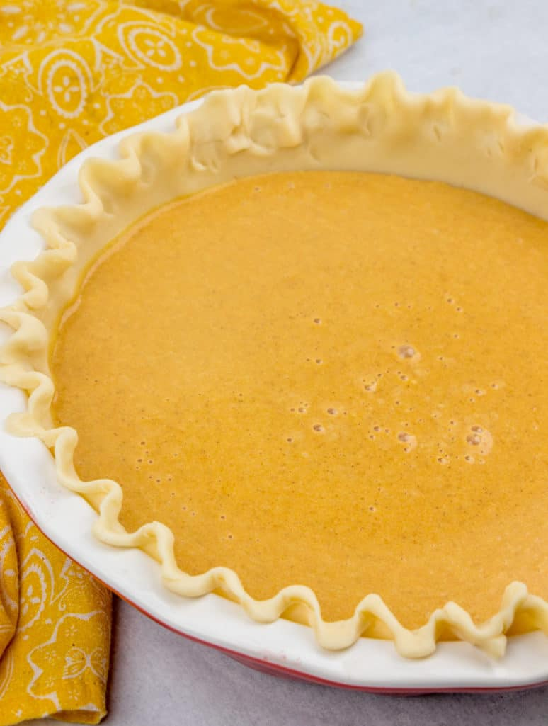 pumpkin pie filling in pie crust