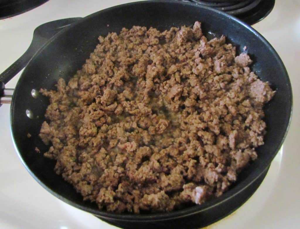 browning the ground beef in a large skillet