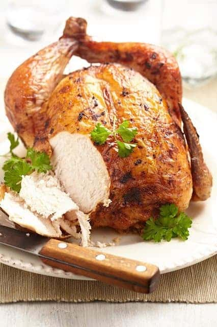 Lemon Garlic Whole Roasted Chicken, sliced