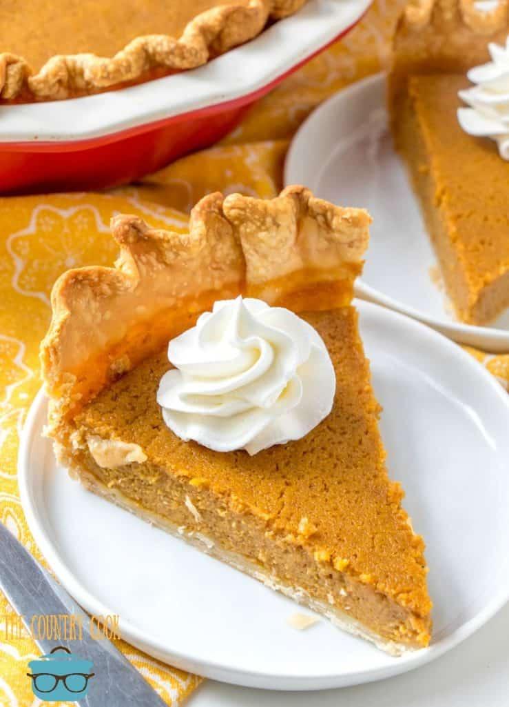 whipped cream topped Brown Sugar Pumpkin Pie