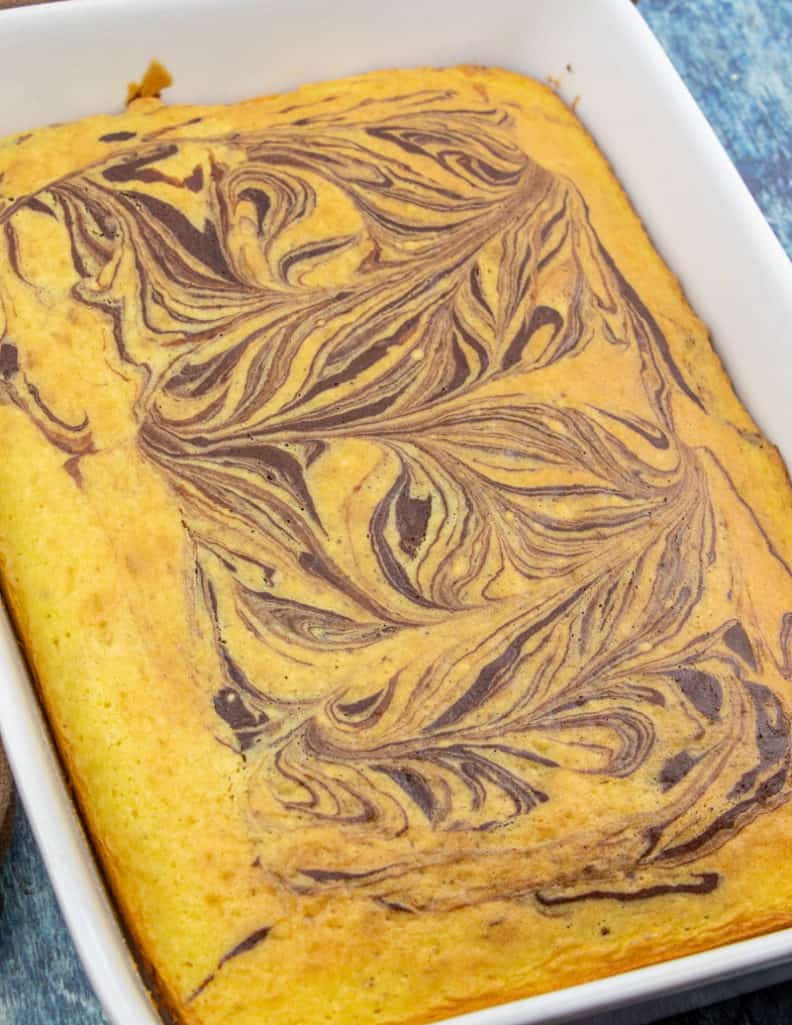 cooled, fudge marble swirl cake