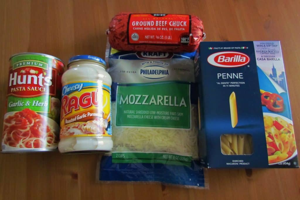 ground beef, mozzarella, Alfredo Sauce, penne pasta, spaghetti pasta sauce