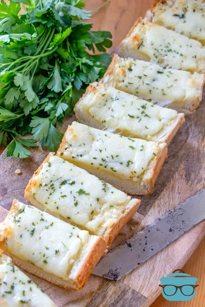finished, Cheesy Garlic Bread, sliced