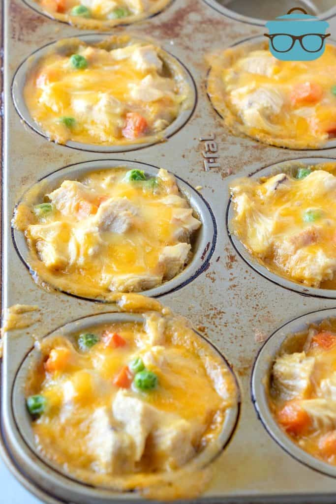 Chicken Pot Pie Biscuit Cups, fully cooked in a muffin tin