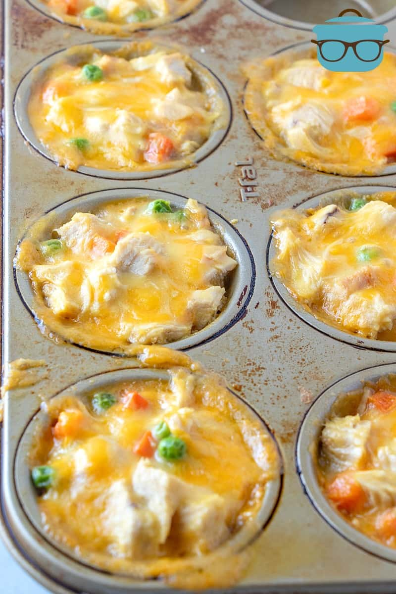 Chicken Pot Pie Biscuit Cups, fully cooked in a muffin tin.