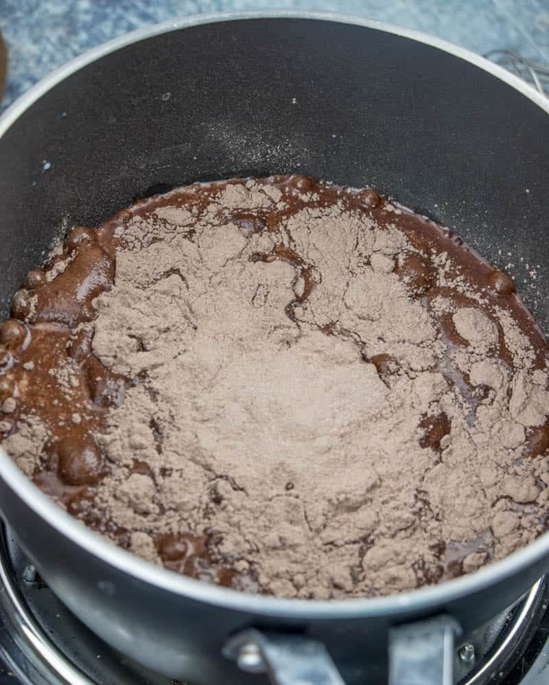 cook and serve chocolate pudding mix in a sauce pan