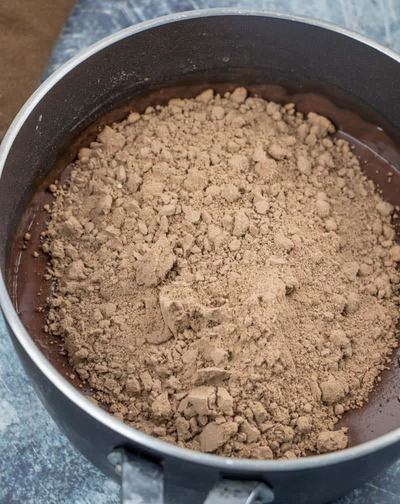 dry chocolate cake mix added to prepared chocolate pudding