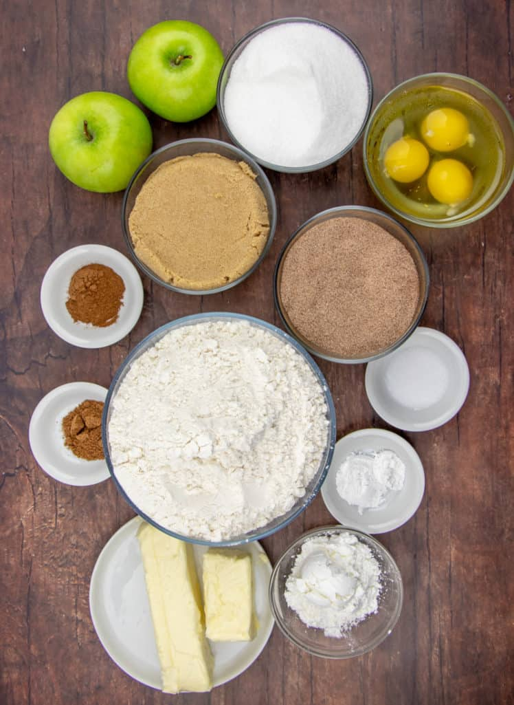 Granny Smith apples, unsalted butter, light brown sugar, sugar, eggs, all-purpose flour, cornstarch, baking soda, salt, nutmeg, cinnamon