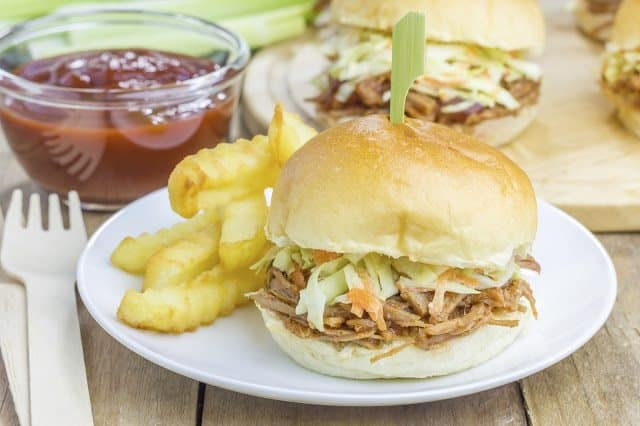 Crock Pot Pulled Pork on a Bun