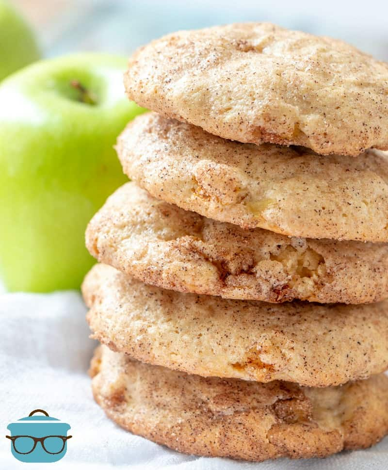 stacked, Apple Cinnamon Snickerdoodle cookies with fresh apples