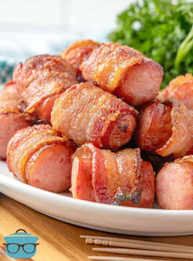 Bacon-Wrapped Sausage Bites on a plate