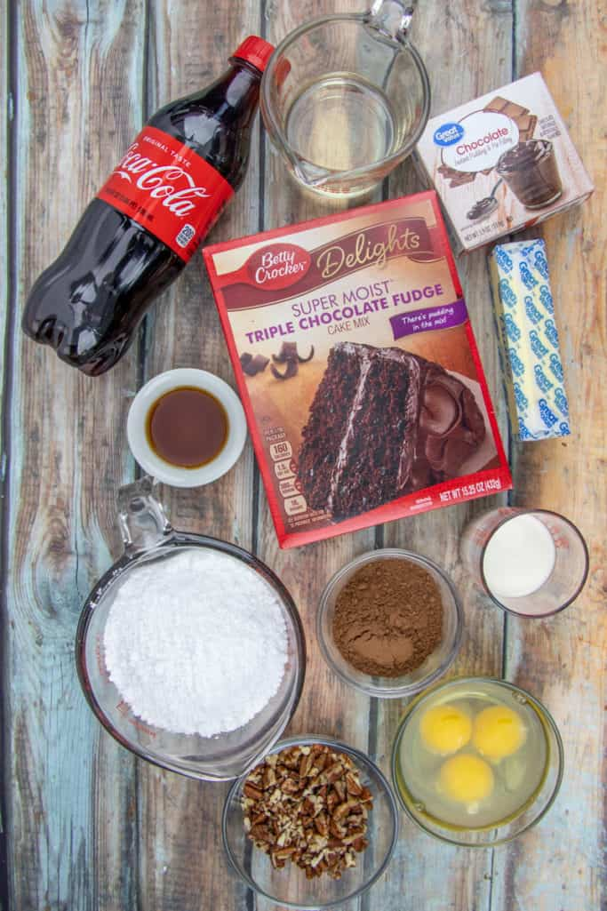 chocolate fudge cake mix, instant chocolate pudding, Coca Cola, butter, vanilla, eggs, oil, water, powdered sugar, cocoa powder