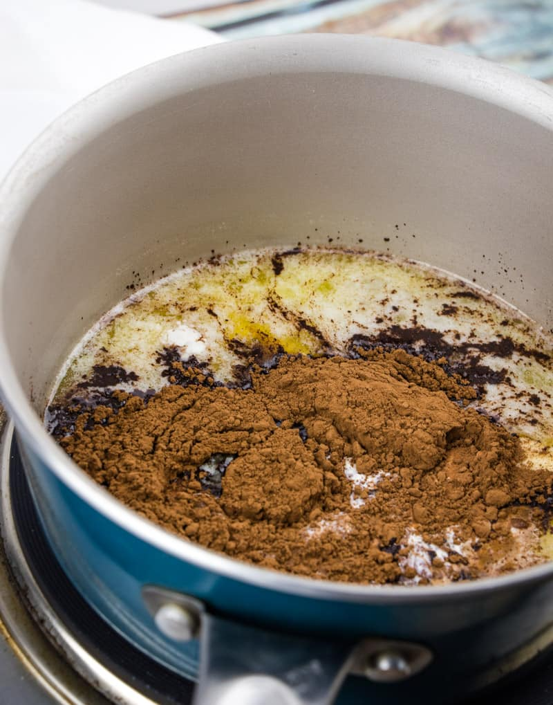 cocoa powder, heavy cream and butter in a medium saucepan