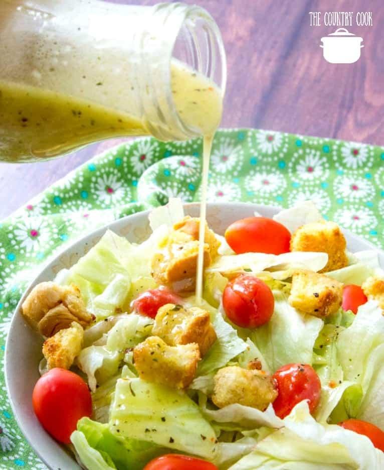 Copycat Olive Garden Salad Dressing, pouring