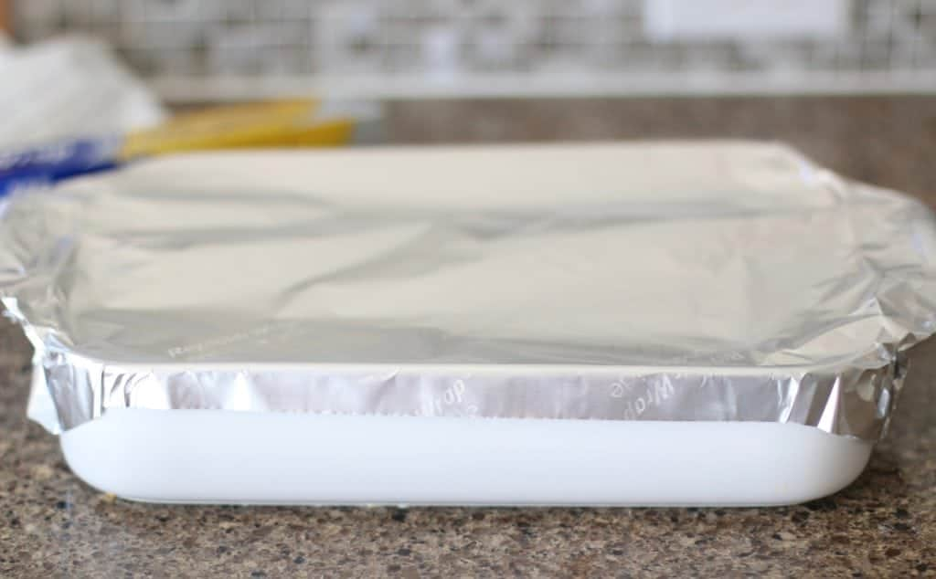 aluminum foil covered baking dish