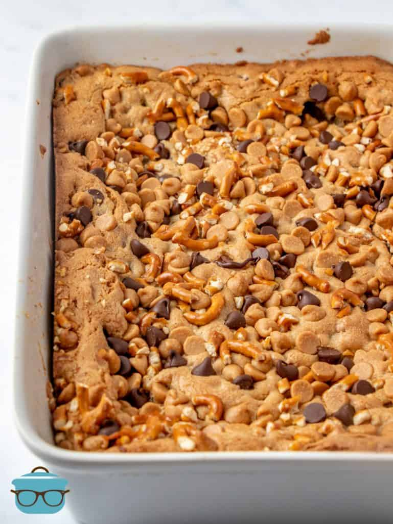fully baked chubby hubby bars in a baking dish