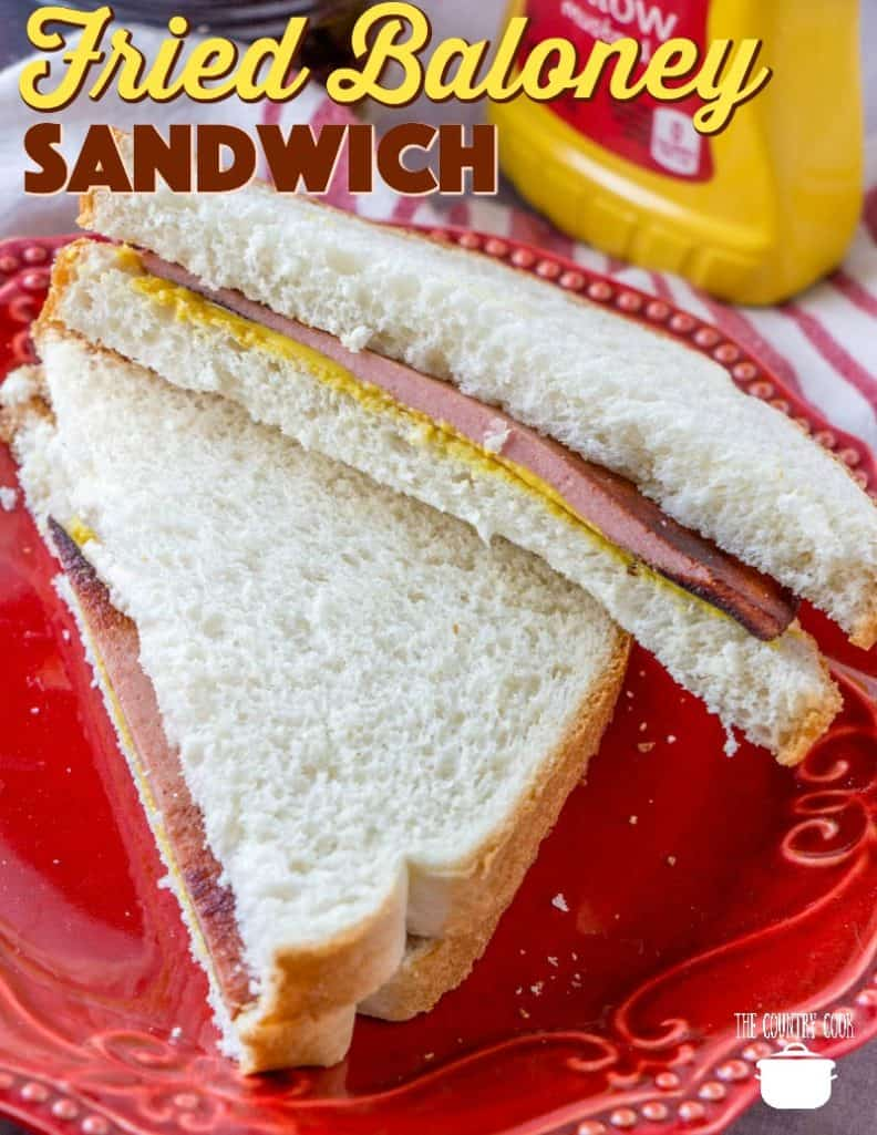Fried Bologna (Fried Baloney) Sandwich recipe from The Country Cook #bologna #sandwich #lunch #retro #recipes #the70s #oldschool #snack #afterschool #ideas