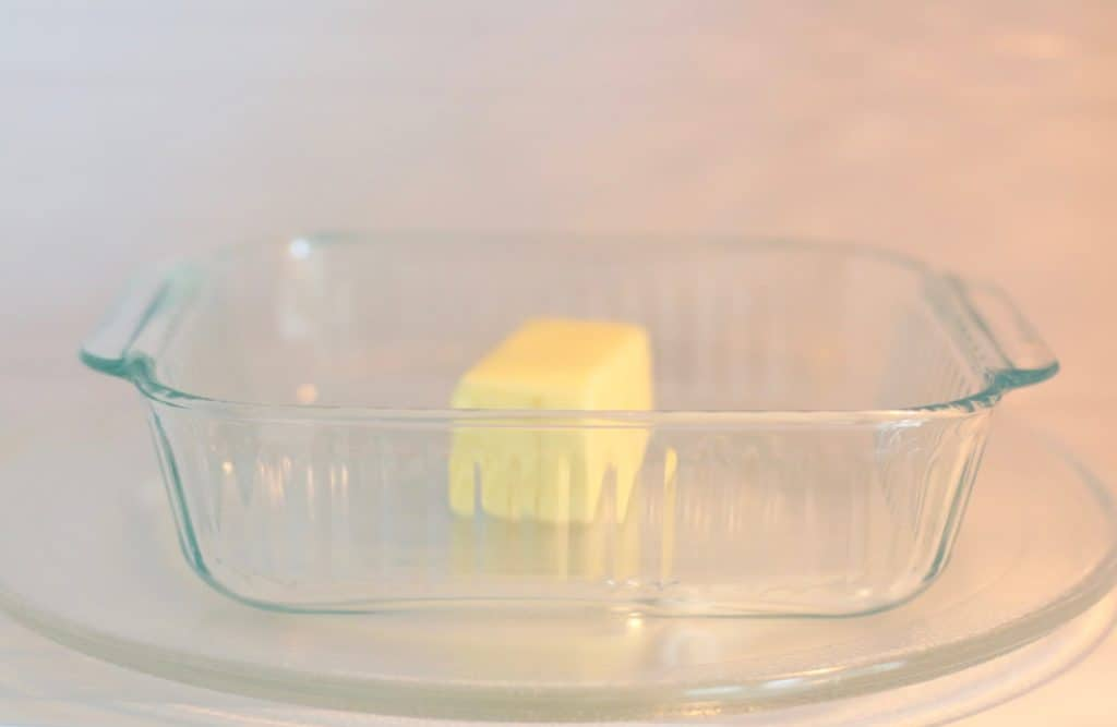 glass Pyrex dish, melting salted butter in microwave