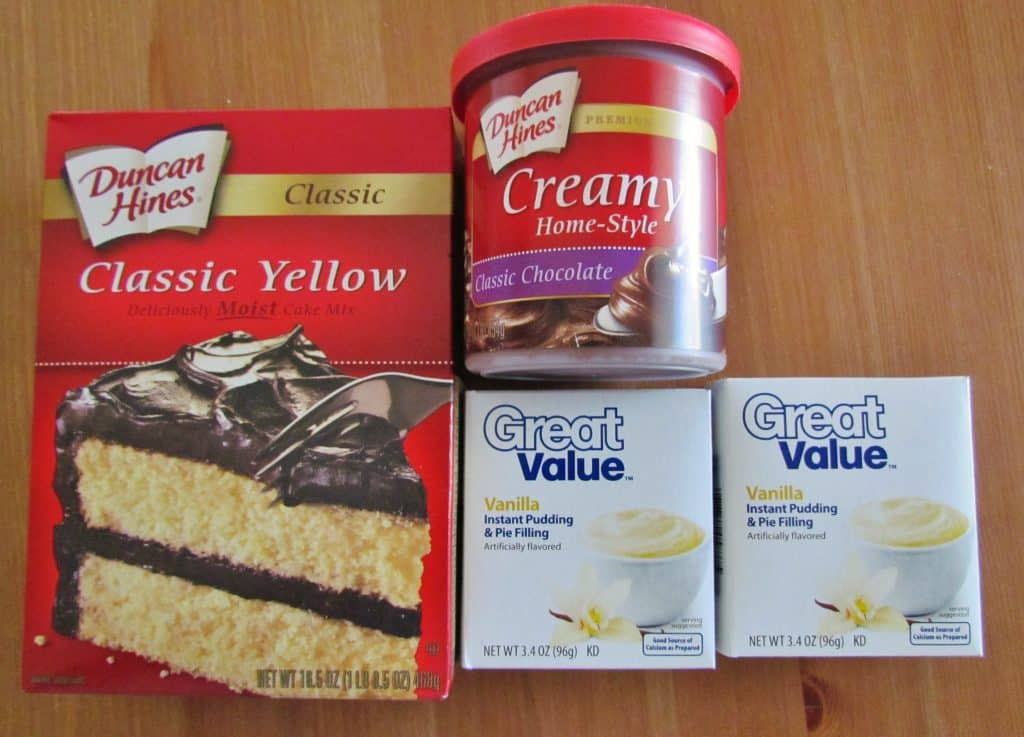 yellow cake mix, instant vanilla pudding and chocolate frosting