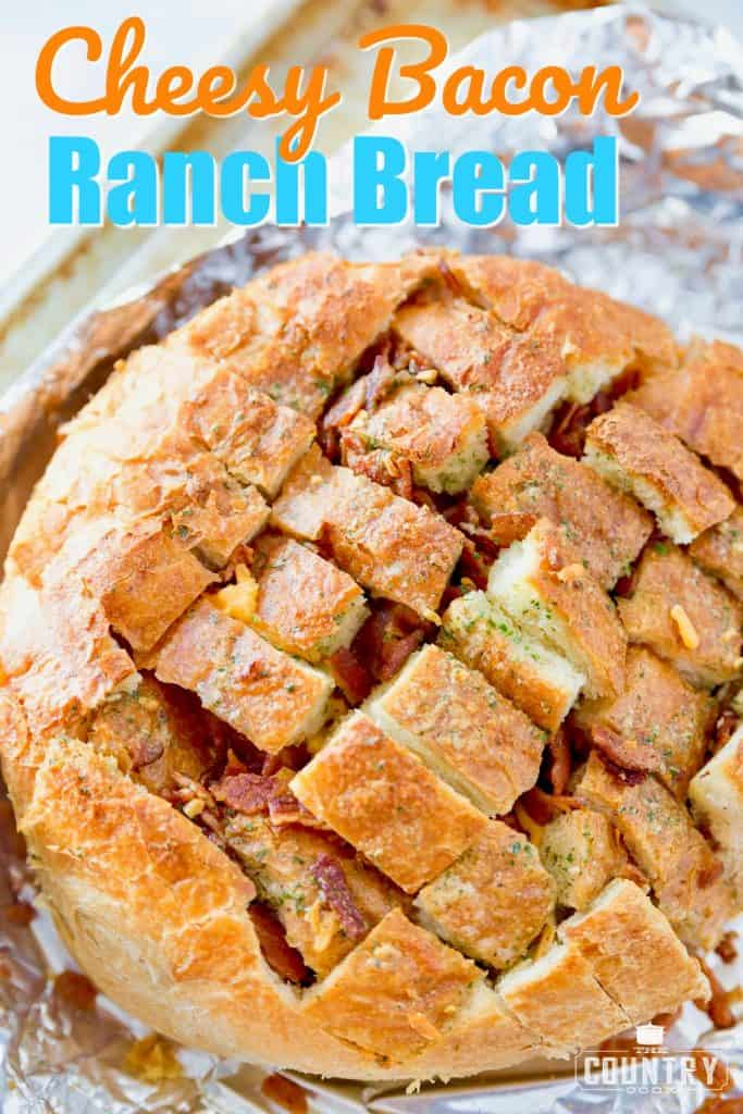 Cheesy Bacon Ranch Pull Apart Bread recipe from The Country Cook