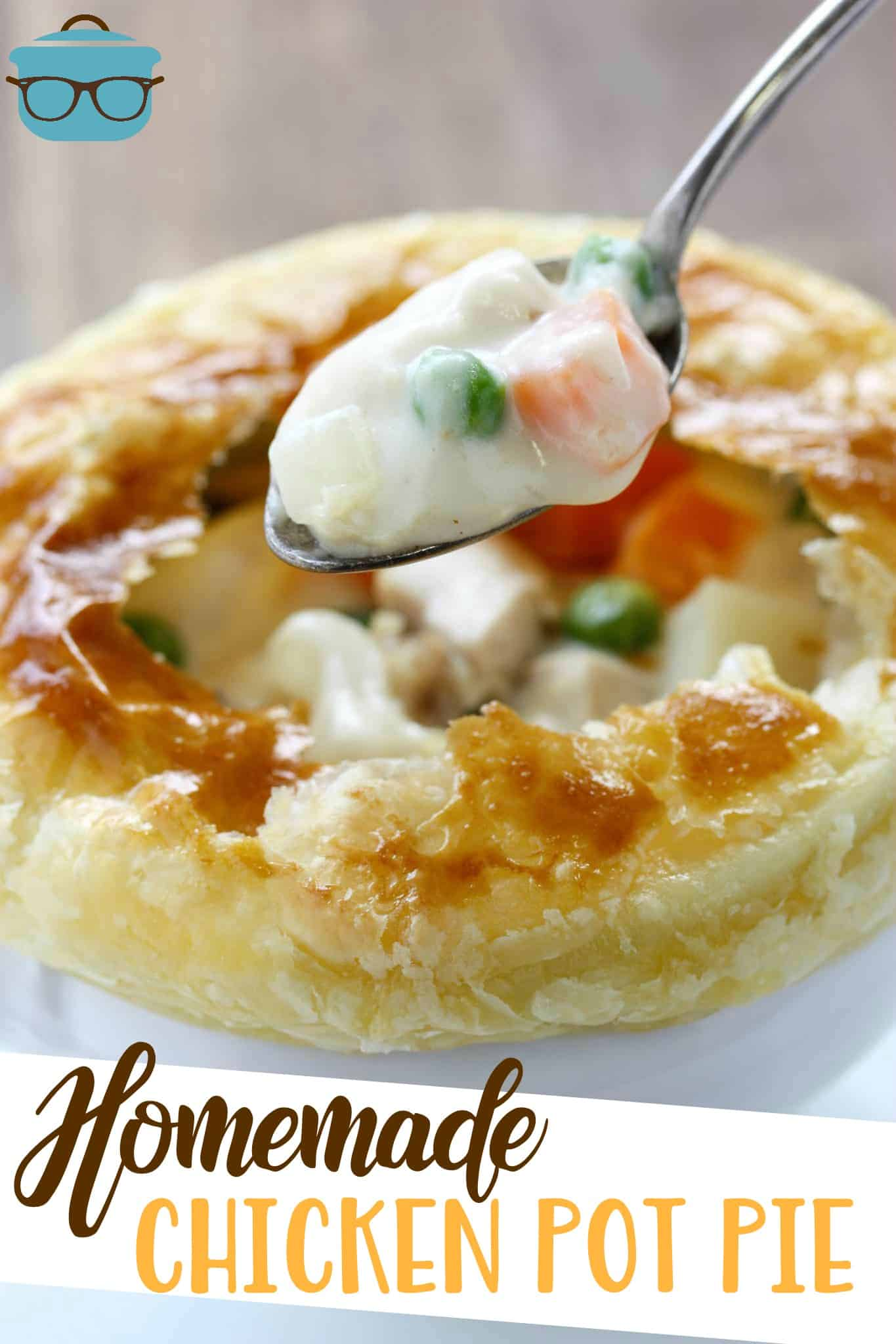 Homemade Chicken Pot Pie has the most delicious, thick, creamy filling with an easy puff pastry crust. Individual ramekins make for easy serving. #potpie #dinner