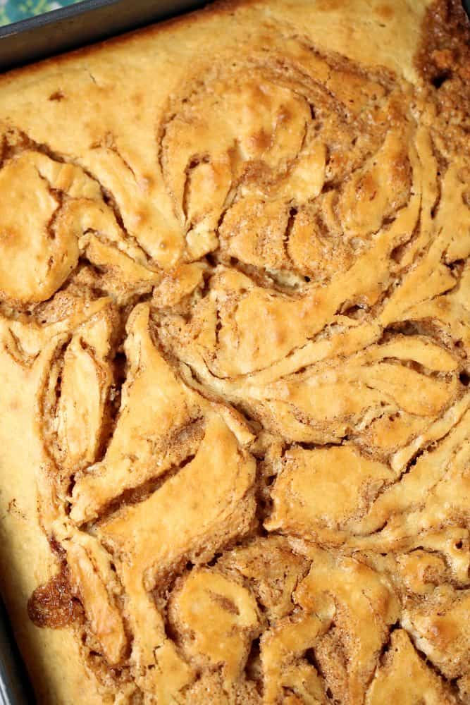 cinnamon roll cake, fully baked, golden brown